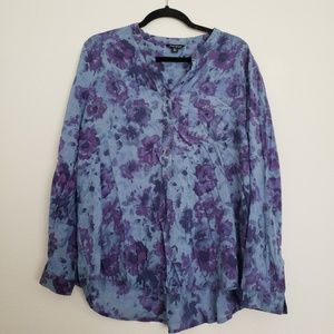 LUCKY BRAND Watercolor Floral Button Down Popover